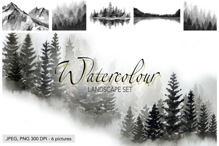 Watercolour Landscapes Forest Trees Watercolor Mountains