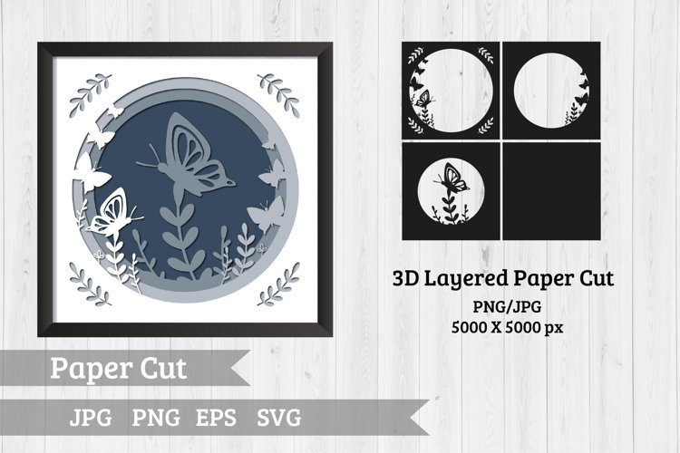 Butterfly shadow box, SVG, 3d papercut SVG, layered paper