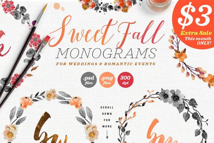 8 Sweet Fall Wedding Monograms X example image 1