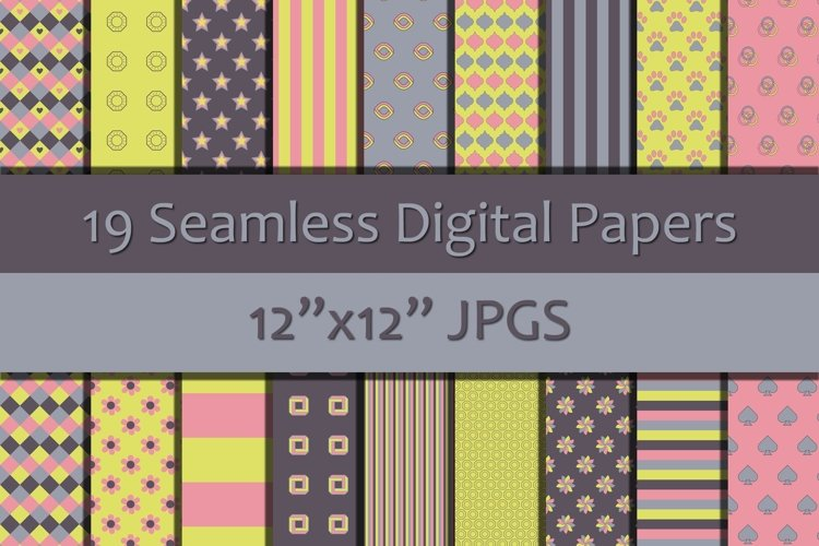 Shades of Pink/Yellow/Blue 2 Seamless Digital Papers example image 1