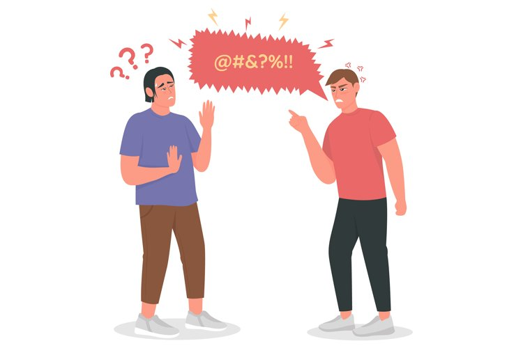 Arguing men flat color vector detailed character example image 1