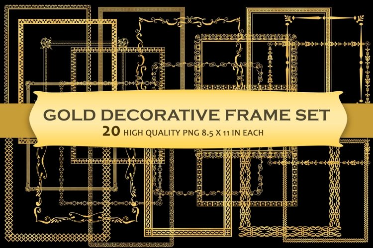 Gold Decorative Frames Clipart - Set of 20 example image 1
