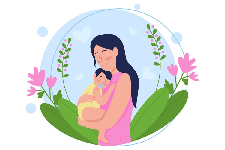 Young mother with baby flat concept vector illustration example
