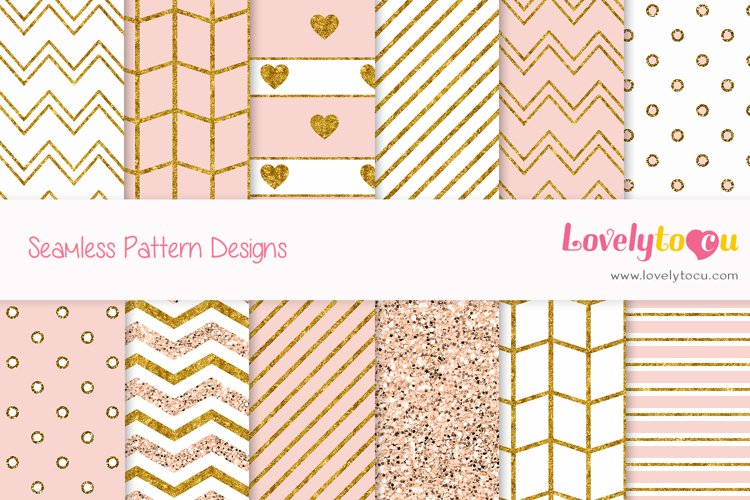 Gold and Peach feminine seamless pattern backgrounds example image 1