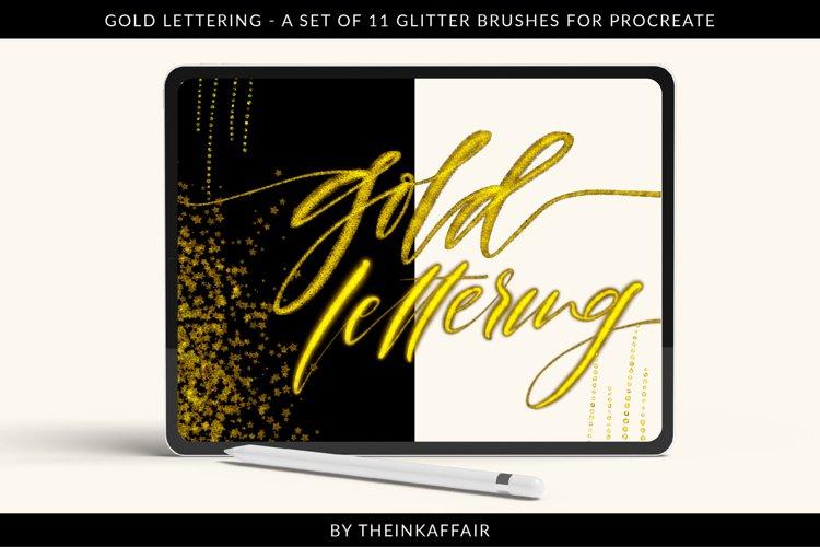 Gold lettering, glitter brushes for procreate