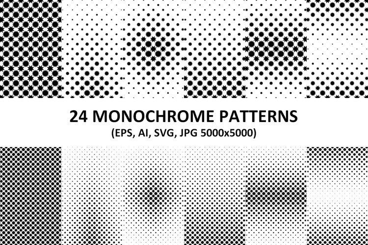 24 Geometrical Monochrome Patterns