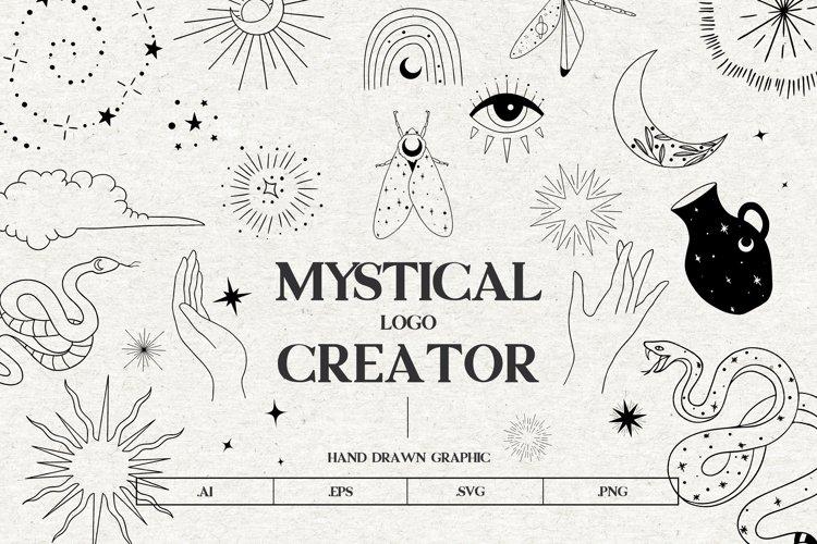 Mystical vector icons, Moon, sun, stars, vector clipart