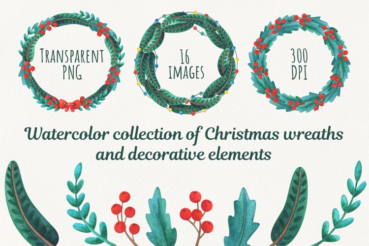 Christmas collection of wreaths and decorative elements