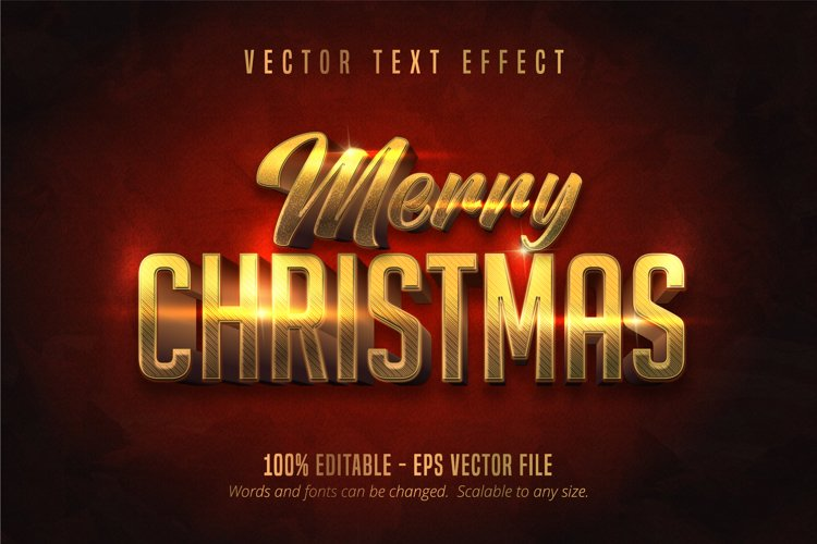 Merry christmas text, shiny gold editable text effect example image 1