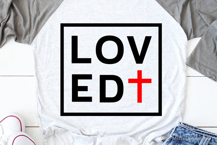 Loved Svg, Valentines Day Svg, Christian Svg, So Loved John example image 1
