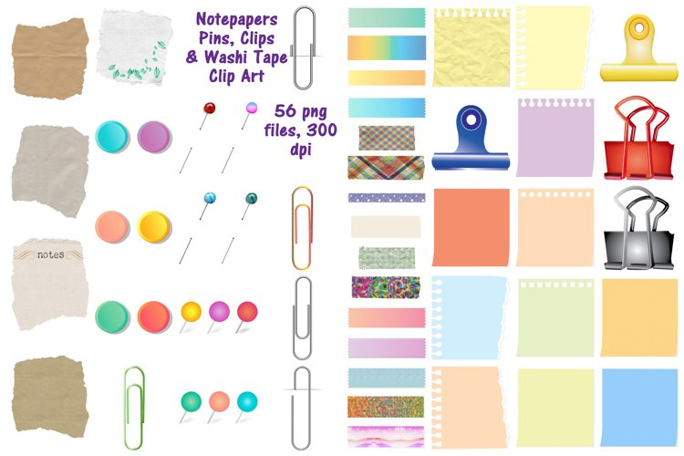 Notepapers, Pins, Paper Clips, Washi Tape Etc. Clip Art