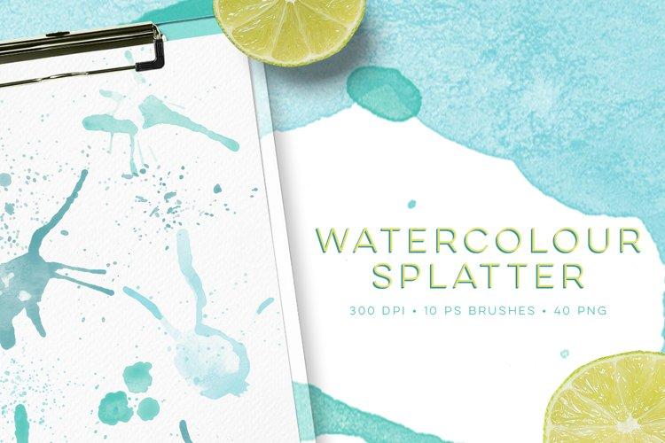 Watercolour Splatter Photoshop Brushes example image 1