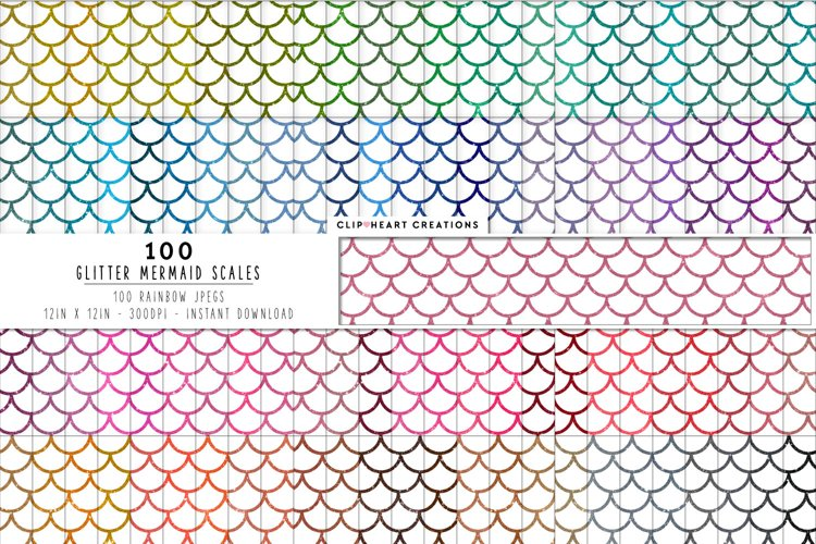 100 Glitter Mermaid Scales Digital Papers example image 1