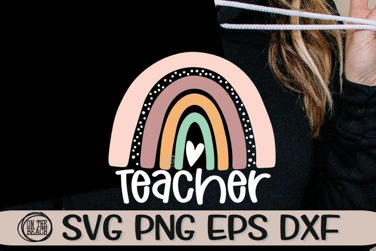 Teacher - Rainbow - Doodle - SVG PNG EPS DXF