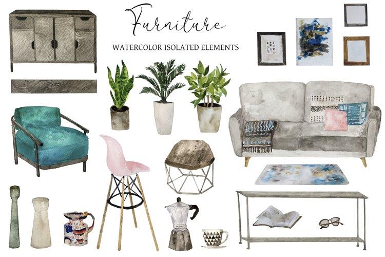 Watercolor Interior Creator Kit with Furniture Set