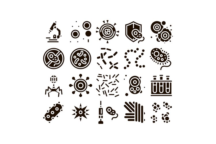 Pathogen Elements Vector Sign Icons Set example image 1