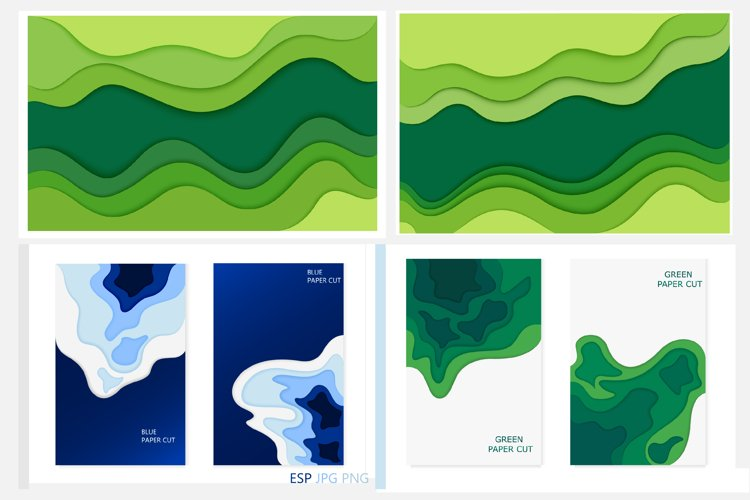 Abstract design background with green and blue cut paper example image 1