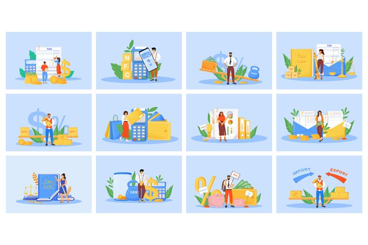 Taxes and payments flat concept vector illustrations set example image 1