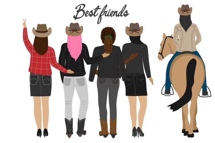 Best friends clipart Girls back view Family sisters. Besties example image 1