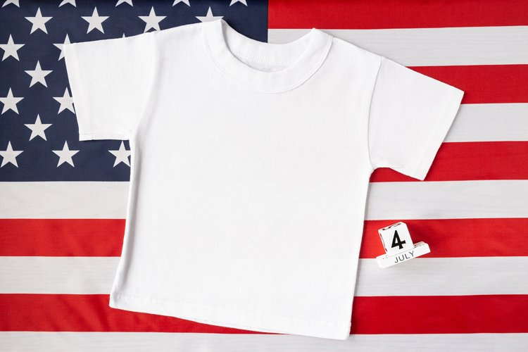 4th of july mockup, T-shirt mock up, template, flat lay