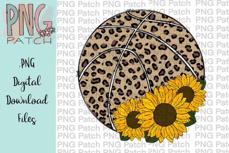 Leopard Print Basketball with Sunflower, Football PNG File example image 1