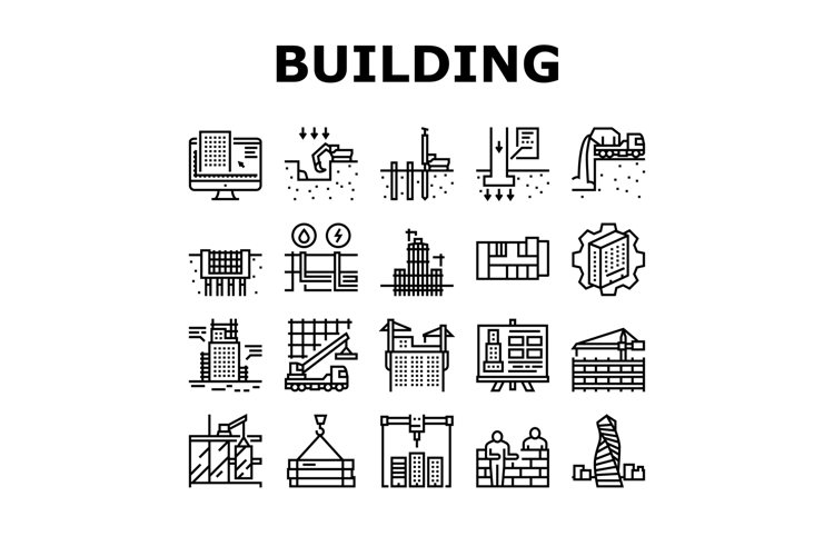 Building Construction Collection Icons Set Vector example image 1