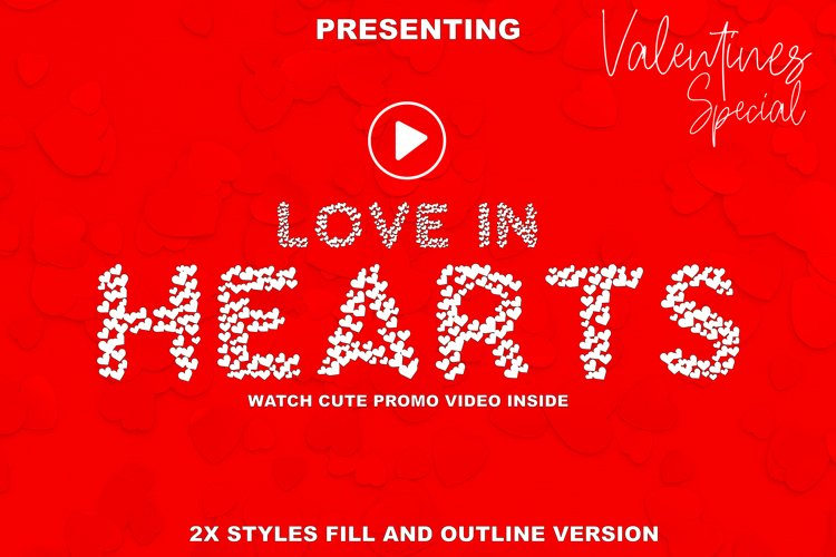 Love In Hearts - A Valentine Day Font example image 1