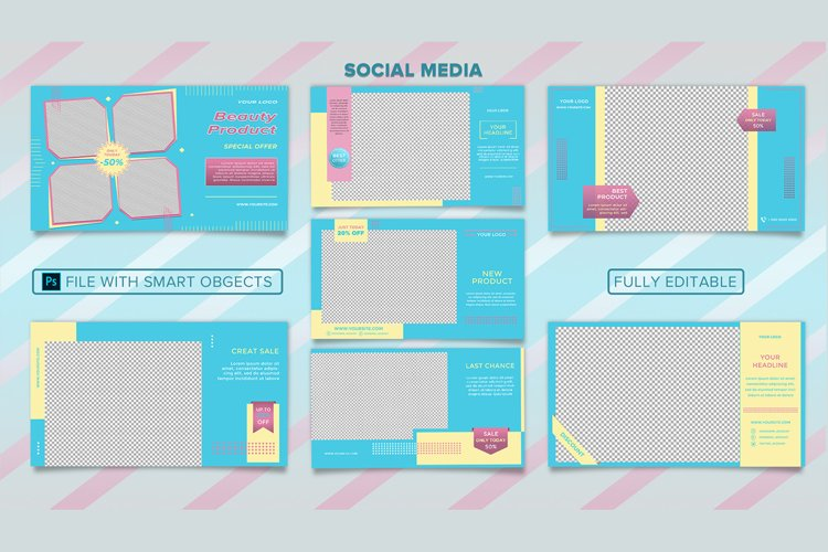 Editable Social Media banner template PSD