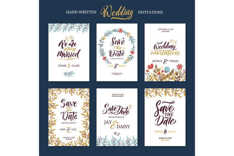 Invitation cards for wedding with calligraphy words. Save th example image 1