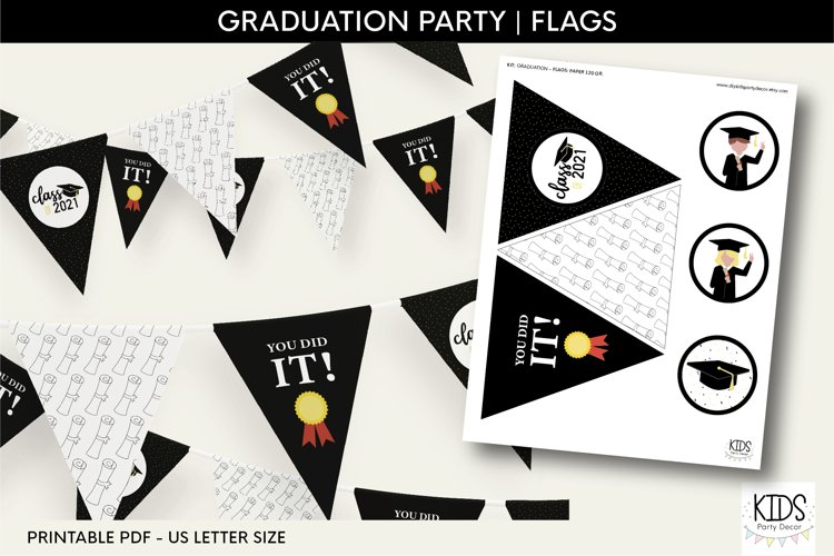 Graduation bunting banner, class of 2021 party banner
