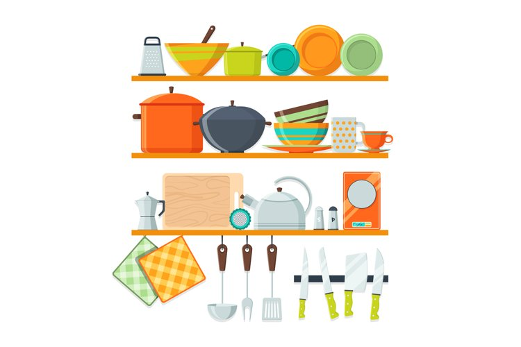 Kitchen tools and restaurant equipment on shelves example image 1