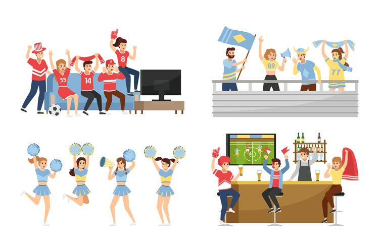 Sport team fans. Supporters group with attributes collection example image 1