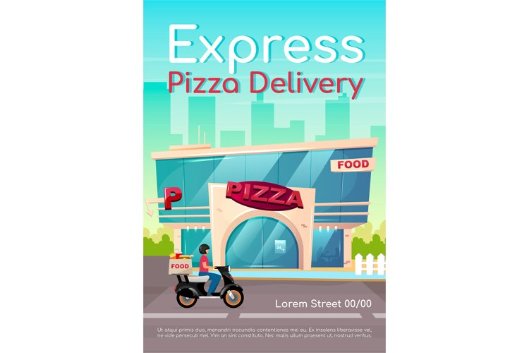 Express pizza delivery poster flat vector template example image 1