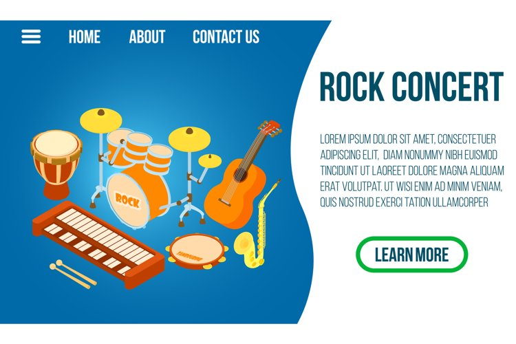 Rock concert concept banner, isometric style example image 1