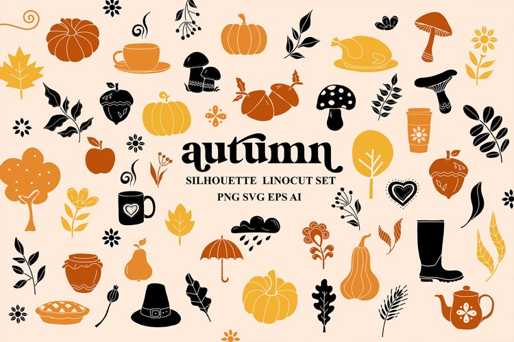 Autumn Fall Linocut Silhouette Svg Cut Files, Autumn Clipart