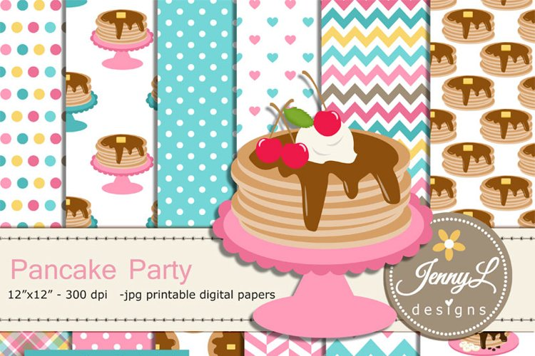 Pancake digital papers and clipart SET for Party Digital Scrapbooking, food birthday invitations, Planner example image 1