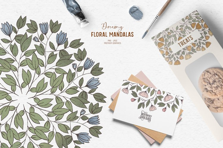 Hand-drawn floral clipart| Vintage flower mandala clipart example image 1
