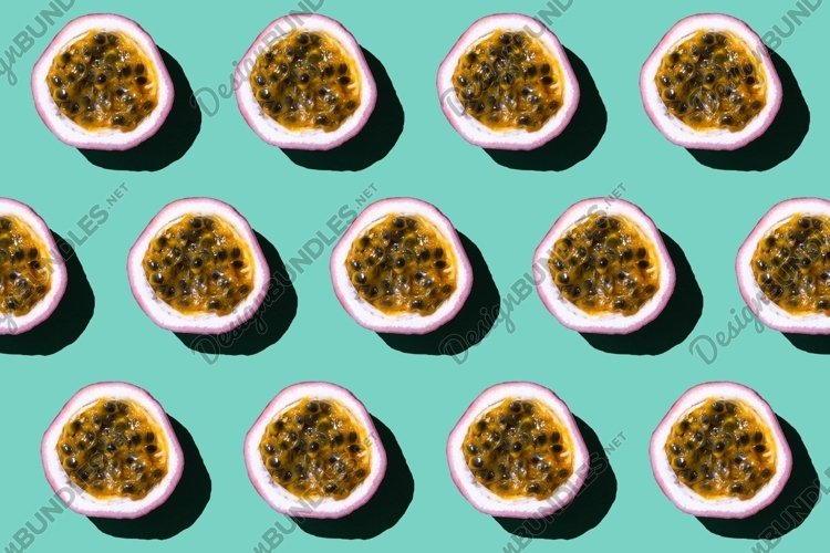 Colorful pattern of fresh passion fruit on green. example image 1