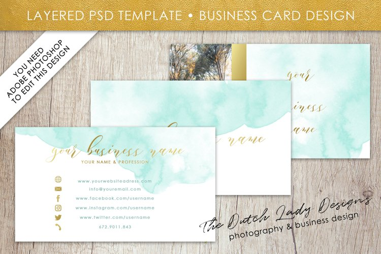 Business Card Template for Adobe Photoshop - Layered PSD Template - Design #1 example image 1