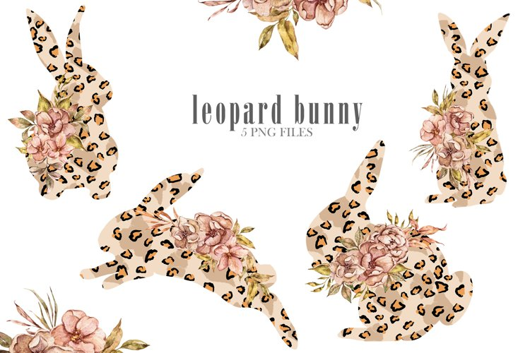 Easter sublimation. Watercolor leopard bunnies clipart. example image 1