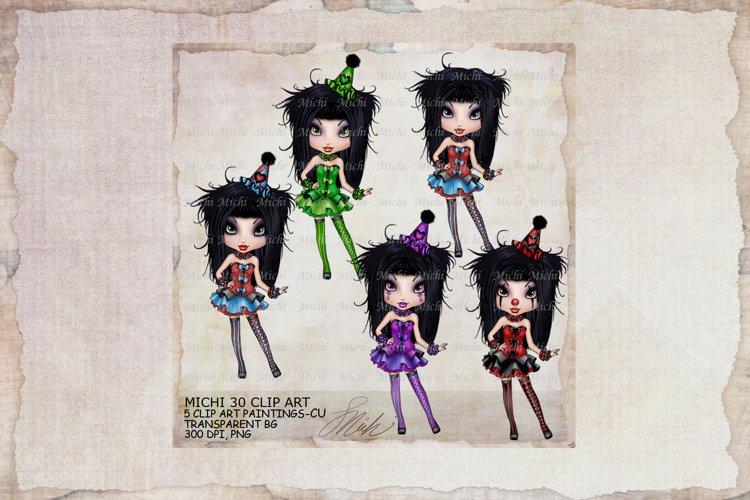 Michi 30 Cute Clown Clip Art, Journal, sublimation example image 1