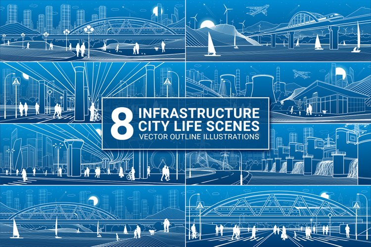 8 vector outline infrastructure city life illustrations