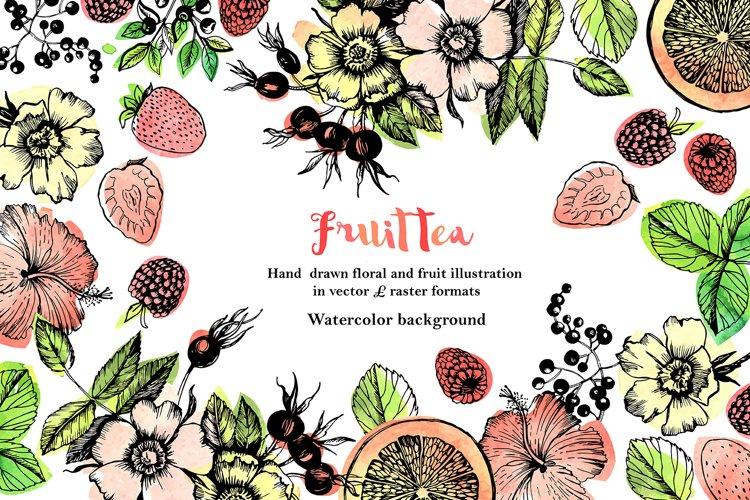 Fruit Tea hand drawn illustration