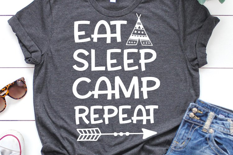 Eat Sleep Camp Repeat SVG, DXF, PNG, EPS example image 1