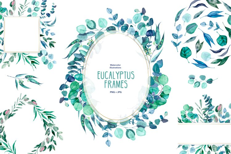 Watercolor eucalyptus frames example image 1
