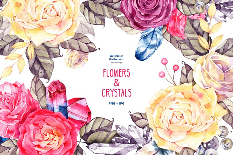 Watercolor boho flowers and crystals example image 1