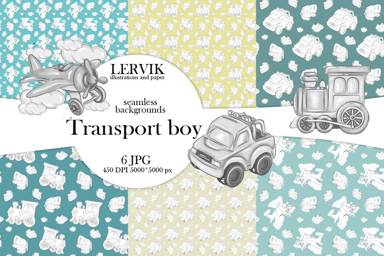 It's a Boy seamless patterns,Baby Boy digetal paper example image 1