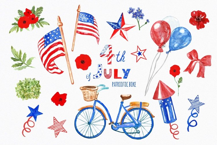 4th of July Patriotic Independence USA watercolor clipart example image 1