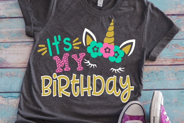 Birthday unicorn girl shirt svg example image 1