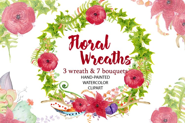 Red flowers Wreath and Bouquets watercolor clipart